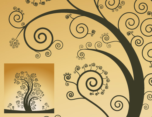 download free curly vector tree in vector format