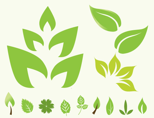free green leaf vector icons