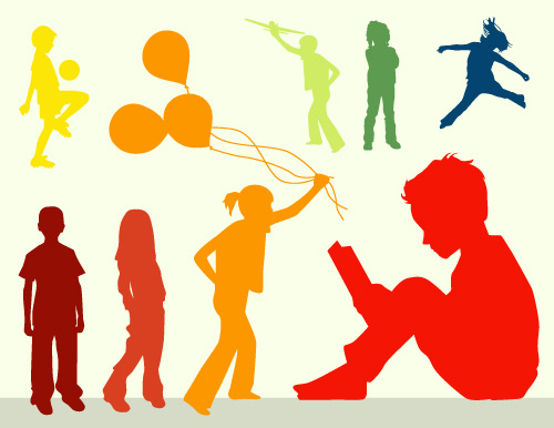 kids silhouettes in vector format