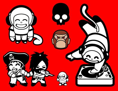 Monkey cartoon vector graphics