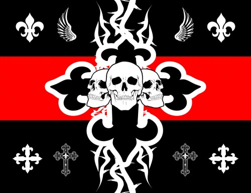 vector crosses, skulls, flor de lis, tribal art, wings