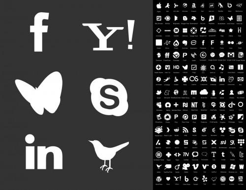 monocrome website logos - vector pack