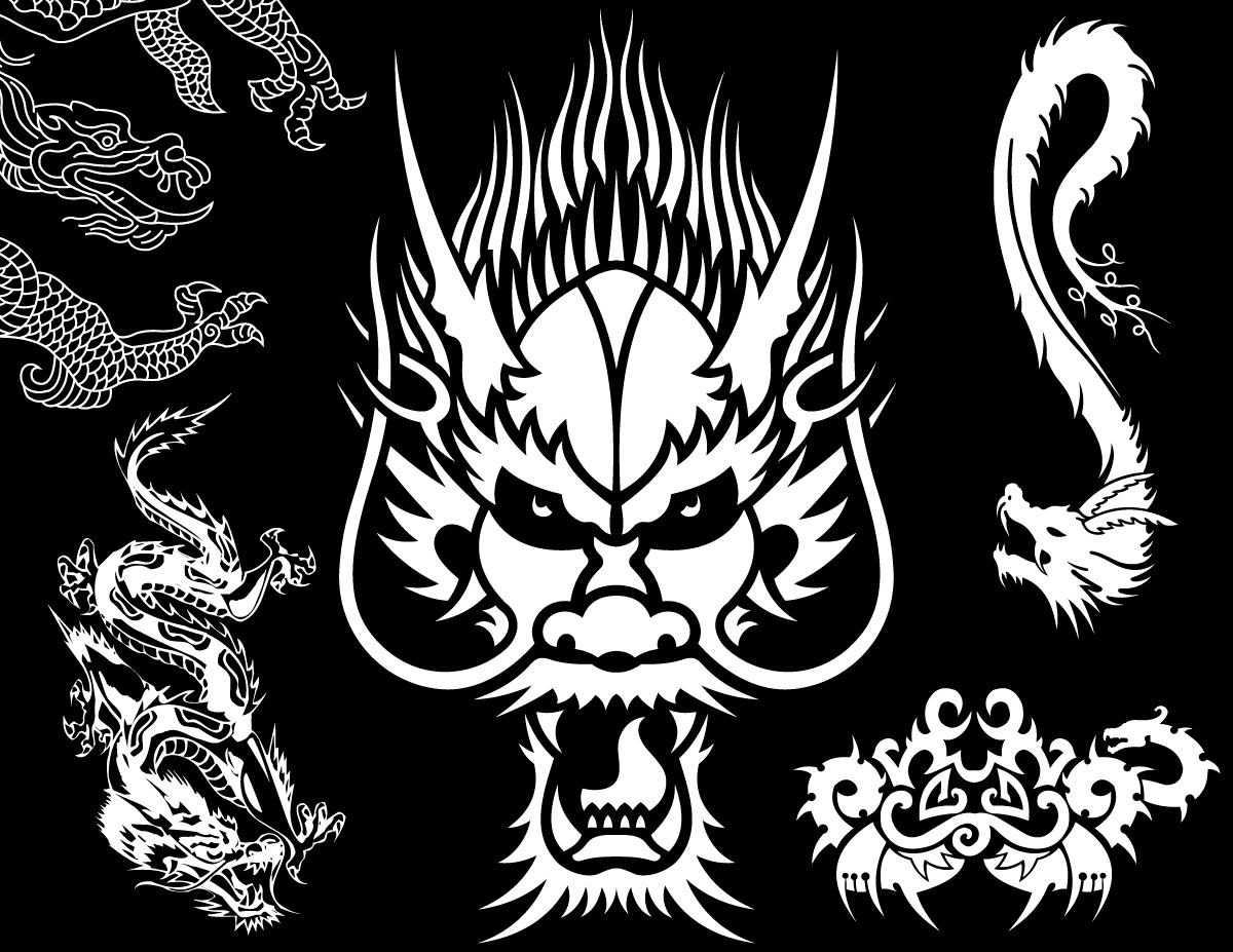 Tribal Dragon Vector Pack