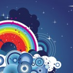 Abstract Rainbow and Clouds Vector Wallpaper