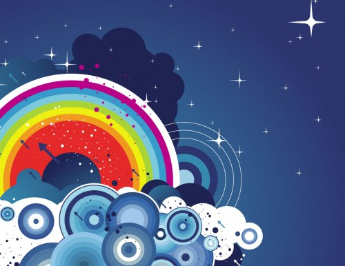 abstract-rainbow-and-clouds-vector-wallpaper
