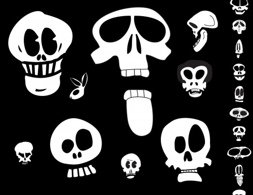 cartoon skulls vector pack